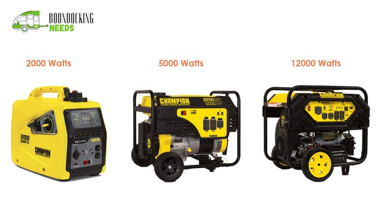 Various RV Generator Sizes depending on Power Output Rating